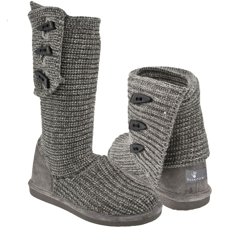 Bearpaw Knit Tall Gray 658w 055 Women S