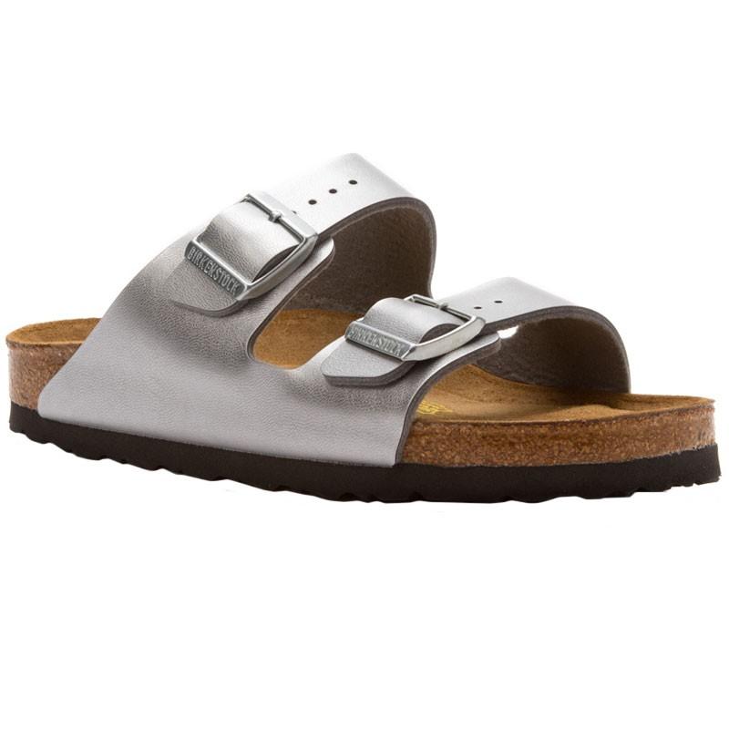 0fb63372722 Birkenstock Arizona SF Silver Birko-Flor 55015-3 (Women s)