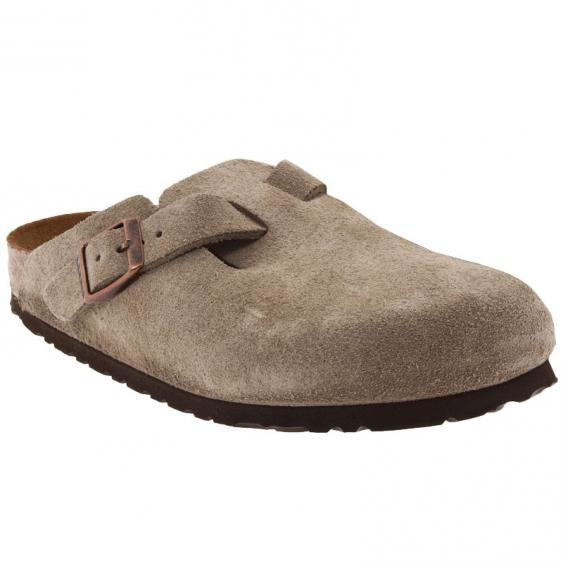 Birkenstock Boston Soft Footbed Taupe Suede 56077 (Unisex)