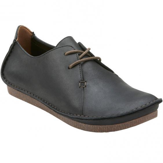 Clarks Janey Mae Black Leather 26111428 (Women's)
