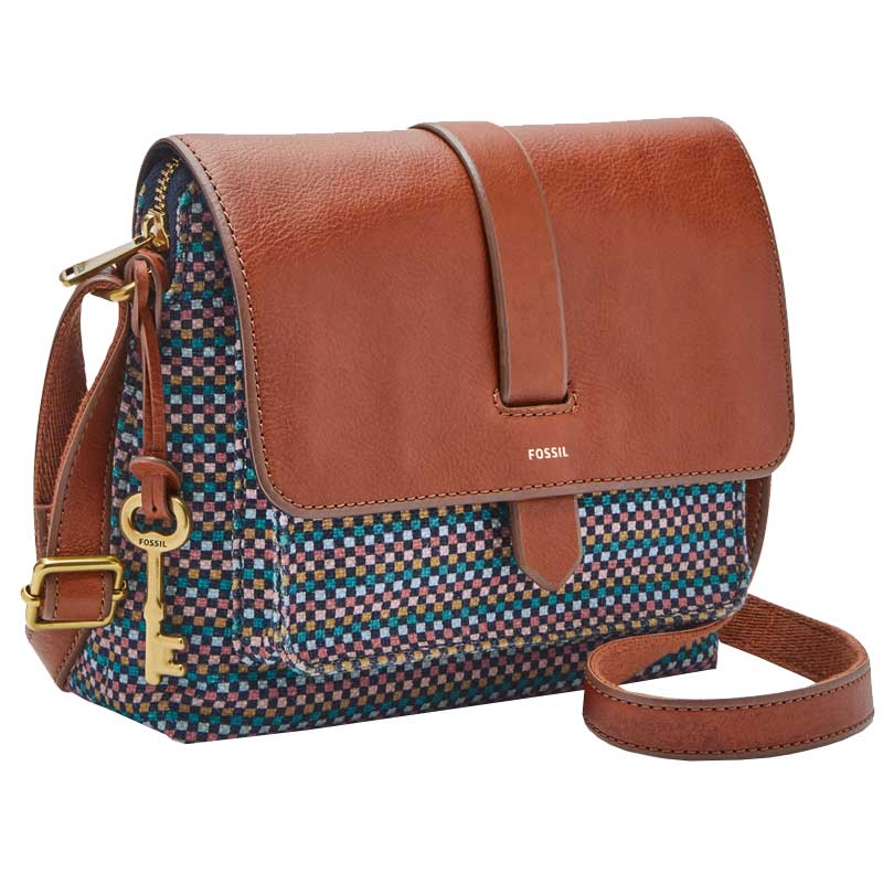 3d9139211881 Fossil Kinley Small Crossbody Teal Brown ZB7610-725. Loading zoom