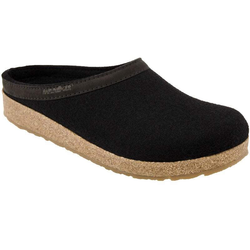 Haflinger GZL45 Grizzly Wool Clog Leather Trim Black (Unisex)