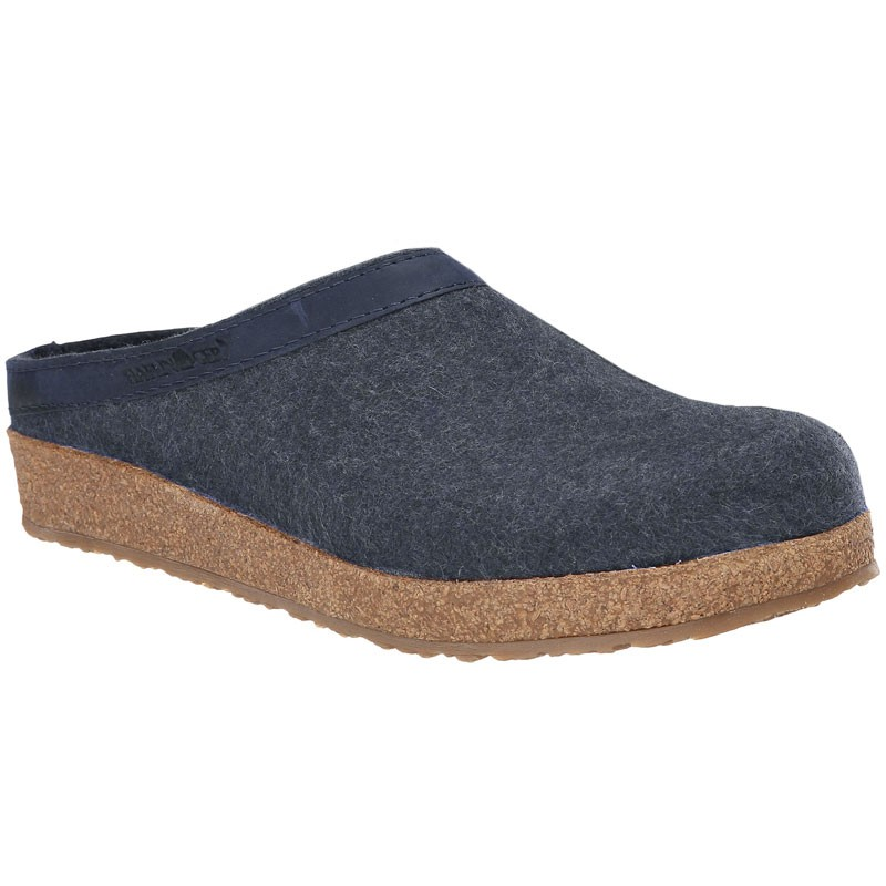 1788414c552 Haflinger GZL79 Grizzly Wool Clog Leather Trim Capt. Blue (Women s).  Loading zoom