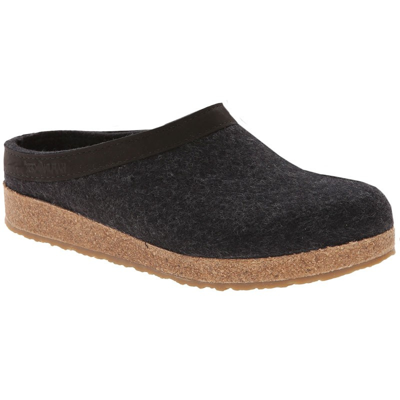 dcdecde67ec Haflinger GZL44 Grizzly Wool Clog Leather Trim Charcoal (Unisex). Loading  zoom