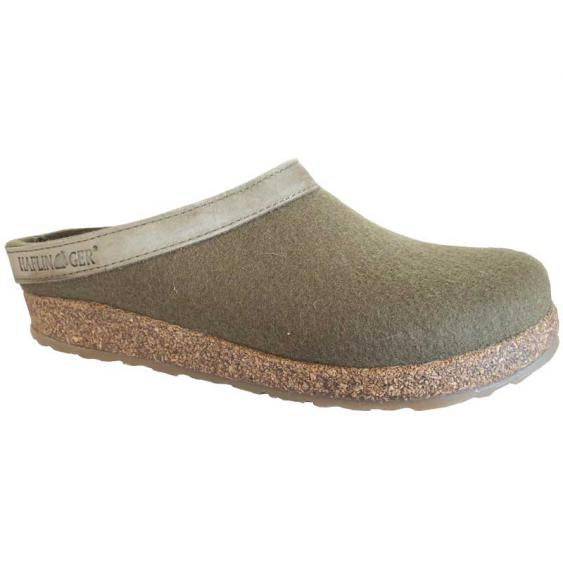 Haflinger GZL66 Grizzly Wool Clog Leather Trim Khaki 713001-66 (Women's)