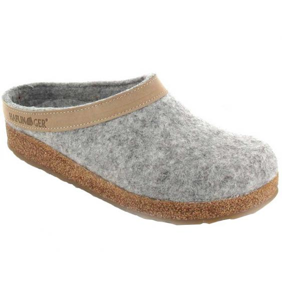 Haflinger GZL84 Grizzly Wool Clog Leather Trim Stone 713001-84 (Women's)