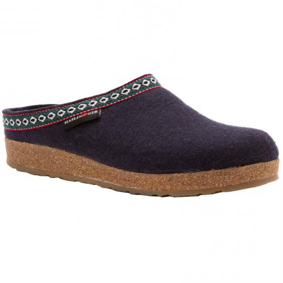 Haflinger GZ10 Classic Wool Grizzly Clog Navy (Unisex)