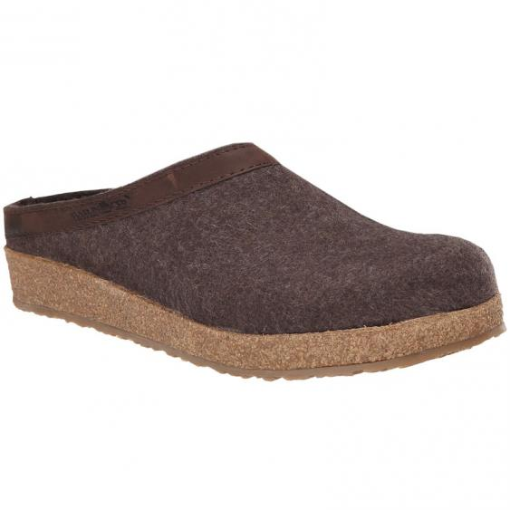 Haflinger GZL42 Grizzly Wool Clog Leather Trim Smokey Brown(Unisex)
