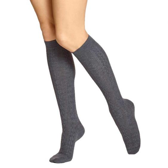 Hue Cable Knee Sock Graphite Heather U14674-79088 (Women's)