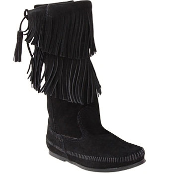 Minnetonka Calf Hi 2 Layer Fringe Boot Black Suede 1689