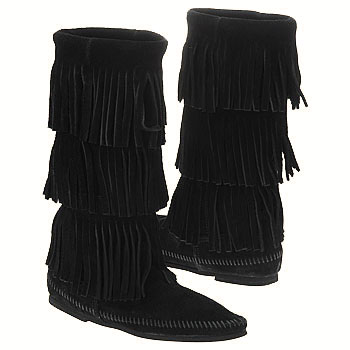 Minnetonka 3 Layer Fringe Boot Black Suede 1639 (Women's)
