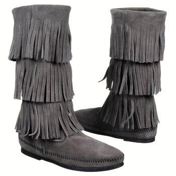Minnetonka 3 Layer Fringe Boot Grey Suede 1631T (Women's)
