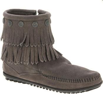 Minnetonka Double Fringe Side Zip Boot Grey Suede 691T (Women's)