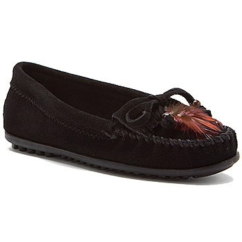 Minnetonka Feather Moc Black Suede 460 (Women's)