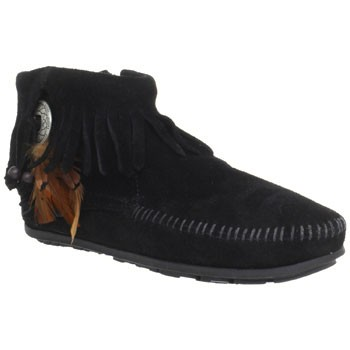 Minnetonka Concho Feather Side Zip Boot Black Suede 520