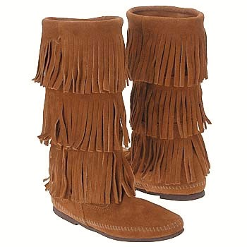 Minnetonka 3 Layer Fringe Boot Brown Suede 1632 (Women's)