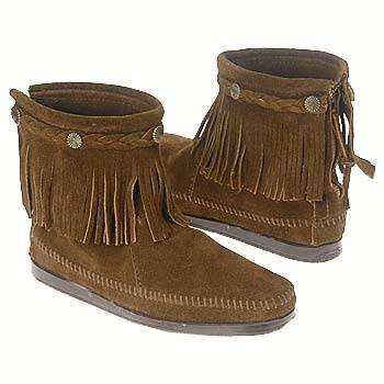 Minnetonka Hi-Top Zip Boot Dark Brown Suede 293 (Women's)