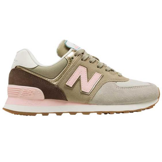 New Balance 574 Metallic Patch Light Cliff Grey/ Light Gold WL574MLA (Women's)