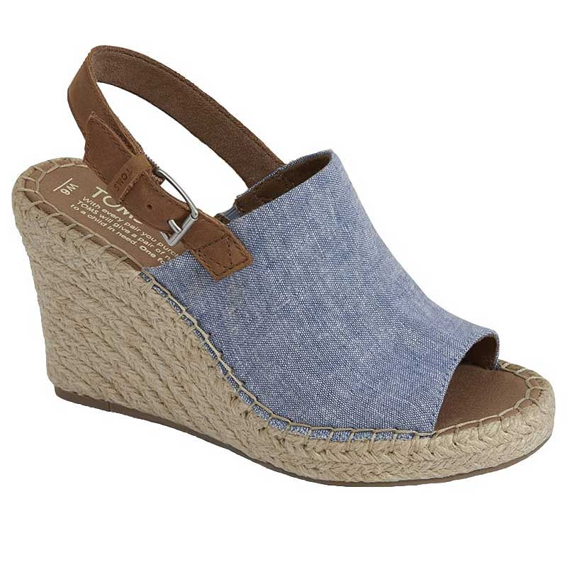 3229e7709 TOMS Shoes Monica Blue Chambray  Leather 10011845 (Women s)