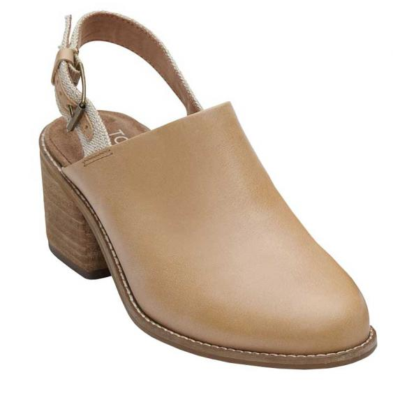 TOMS Shoes Leila Slingback Honey Leather 10011797 (Women's)