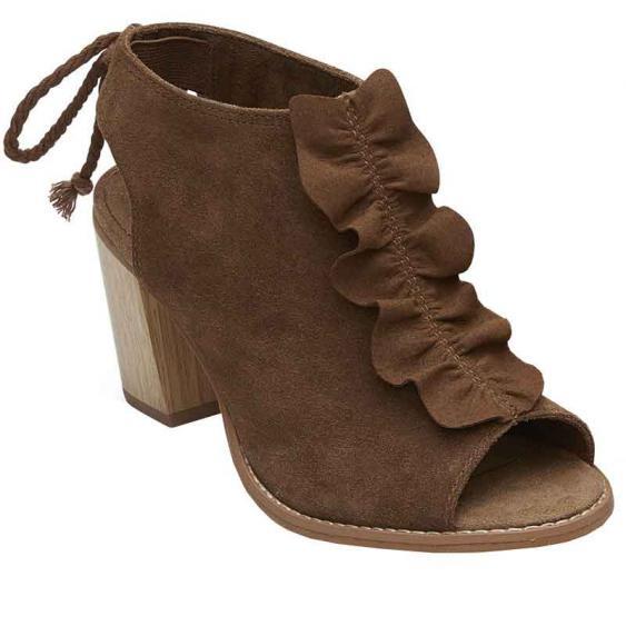 TOMS Shoes Elba Dark Amber Suede/Ruffle 10012485 (Women's)