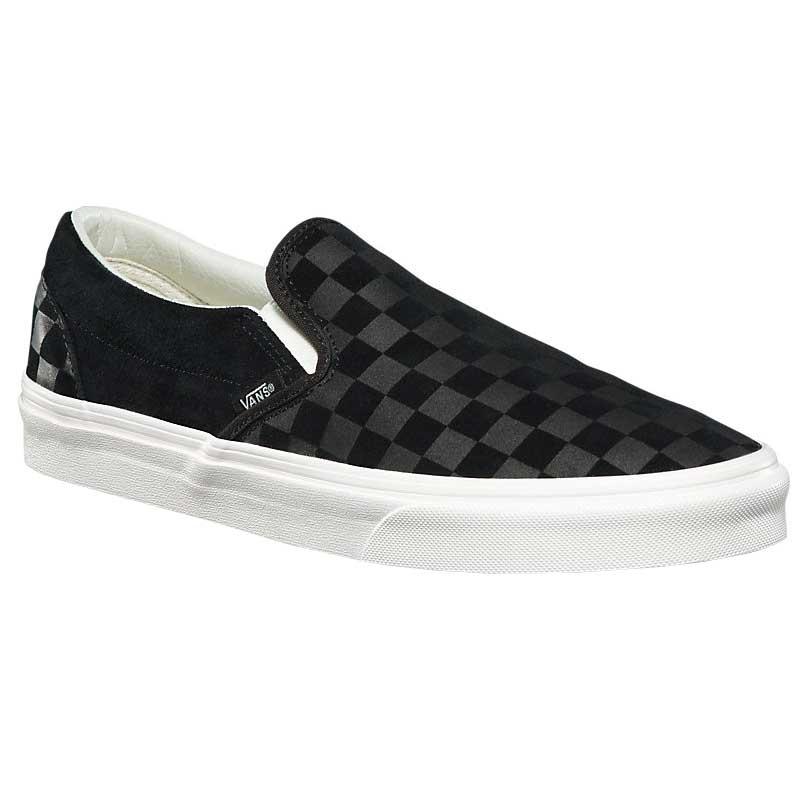 Vans Classic Slip-on Checker Emboss Mens Black Suede Slip On