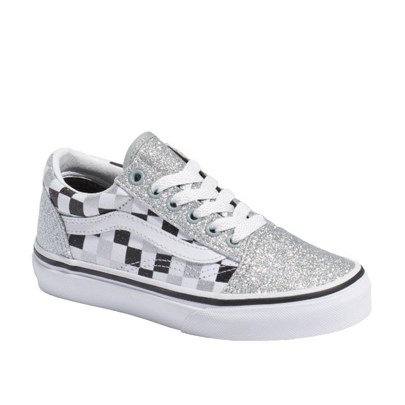 Vans Kids Old Skool Silver Glitter White
