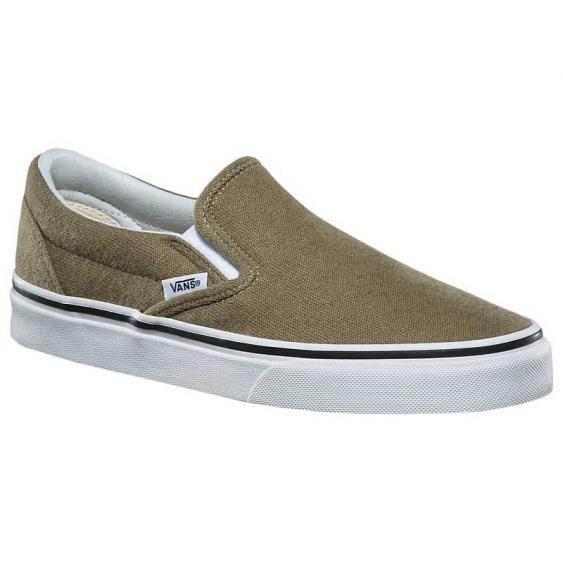 Vans Classic Slip-On Cotton Hemp Dusky Green/ True White VN0A38F7QCT (Women's)