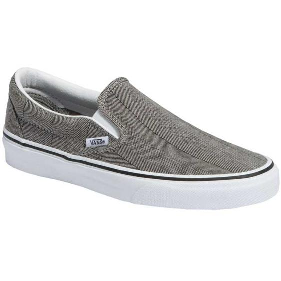 Vans Classic Slip-On Herringbone Gray/ True White VN0A4BV3TBK (Women's)